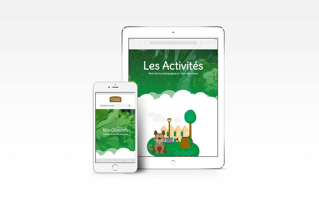 Version mobile et tablette du site internet de la ferme pédagogique
